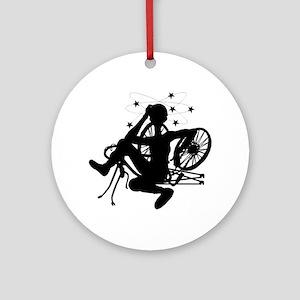 Cyclist Crash Ornament (Round)