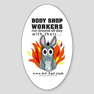 Body Shop Workers Oval Sticker