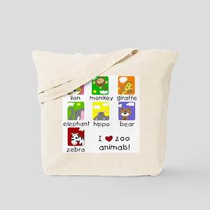 I Love Zoo Animals Tote Bag