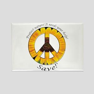 Rectangle Magnet Peace Sunflower