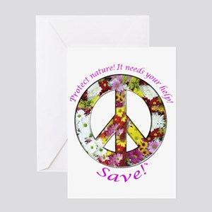 Greeting Card Peace Flowers