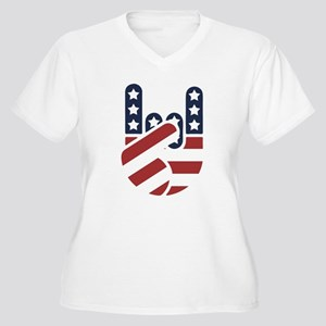 Rock Hand USA Women's Plus Size V-Neck T-Shirt