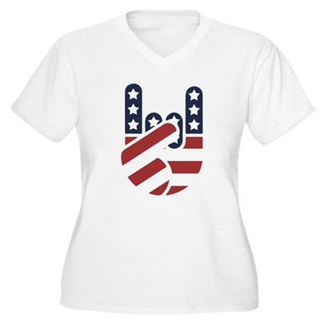 Rock Hand USA Women's Plus Size V-Neck T-Shirt