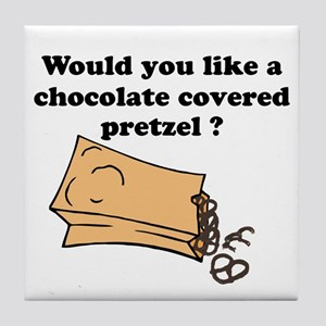 Chocolate covered pretzel Tile Coaster