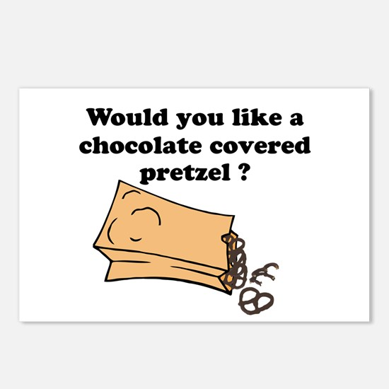Chocolate covered pretzel Postcards (Package of 8)