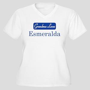 Grandma Loves Esmeralda Women's Plus Size V-Neck T