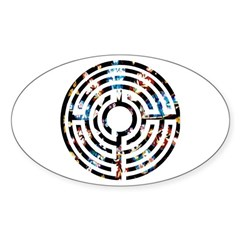 Rose Window Labyrinth Oval Decal