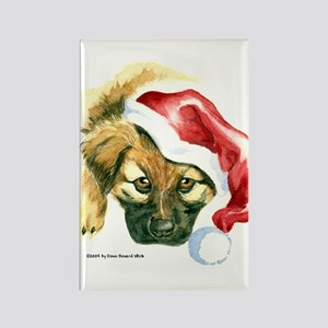 Leonberger Puppy in Santa Hat Rectangle Magnet