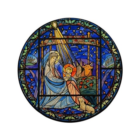 "Nativity window 3.5"" Button (100 pack)"