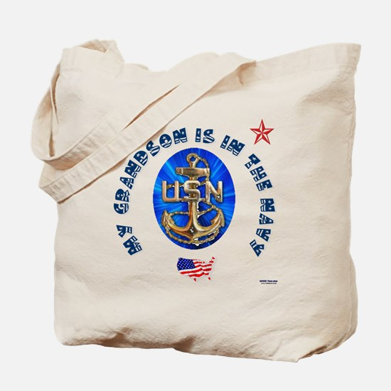 Navy Grandson Tote Bag