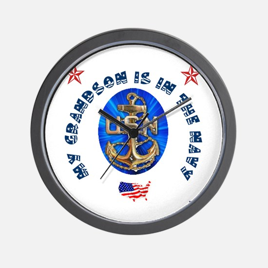 Navy Grandson Wall Clock