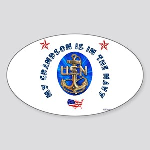 Navy Grandson Oval Sticker