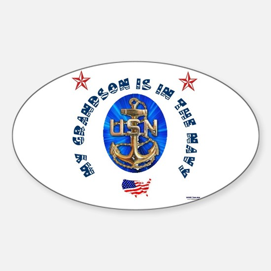Navy Grandson Oval Decal