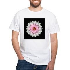 Pink and White Dahlia I White T-Shirt
