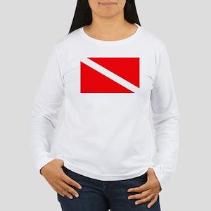 Diver Down Flag Women's Long Sleeve T-Shirt