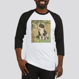 Vintage Christmas Cute Puppy Baseball Jersey