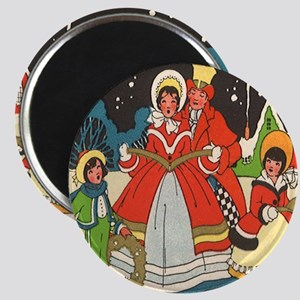 "Vintage Christmas Carolers Singing 2.25"" Magnet (1"