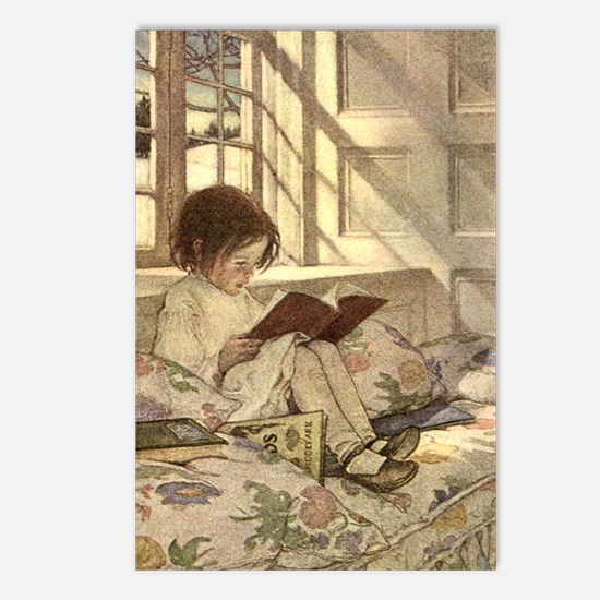 Vintage Books in Winter, Child Reading Postcards (