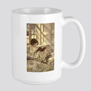 Vintage Books in Winter, Child Reading Large Mug