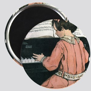 "Vintage Child Playing the Piano 2.25"" Magnet (10 p"