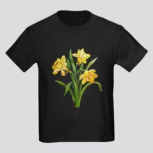 HOST OF DAFFODILS FAUX EMBROIDERY Kids Dark T-Shir