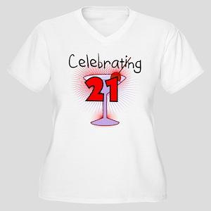 Cocktail Celebrating 21 Women's Plus Size V-Neck T
