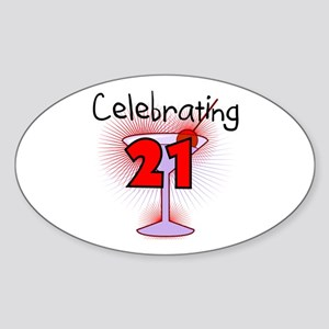 Cocktail Celebrating 21 Oval Sticker