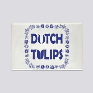 Dutch Tulips Delft Blue Style Rectangle Magnet