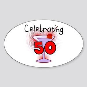 Cocktail Celebrating 50 Oval Sticker