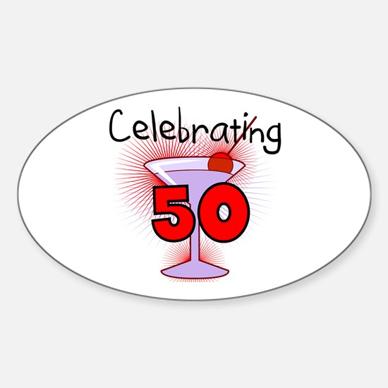 Cocktail Celebrating 50 Oval Decal