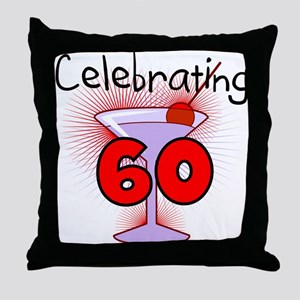 Cocktail Celebrating 60 Throw Pillow