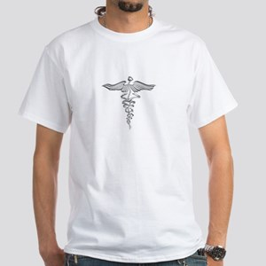 Abstract Medical Symbol Gray. White T-Shirt