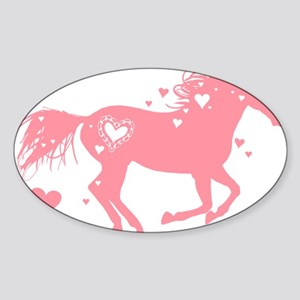 Pink Galloping Heart Horse Sticker