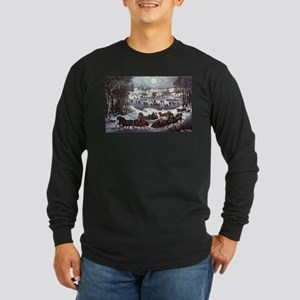 Central Park in Winter Long Sleeve Dark T-Shirt