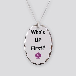 who s up first Necklace Oval Charm
