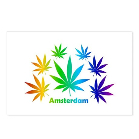Rainbow Amsterdam Pot Postcards (Package of 8)