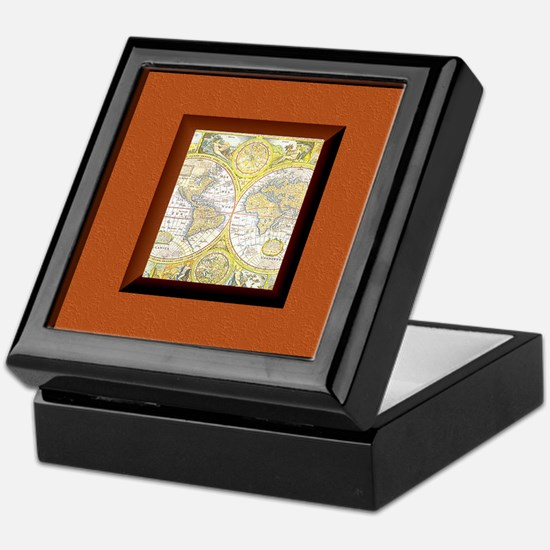 Deluxe World Map Bookplate Storage Box