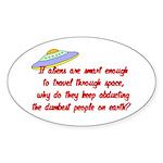 Smart Aliens Oval Sticker