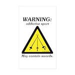 Warning: Addictive Sport Rectangle Sticker 50 pk)