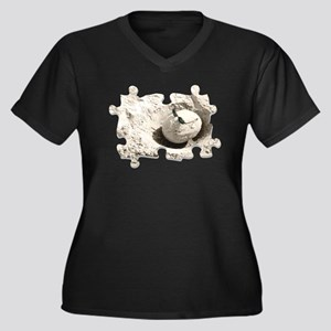 Papache Women's Plus Size V-Neck Dark T-Shirt
