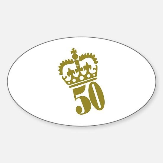 50th Birthday Sticker (Oval)