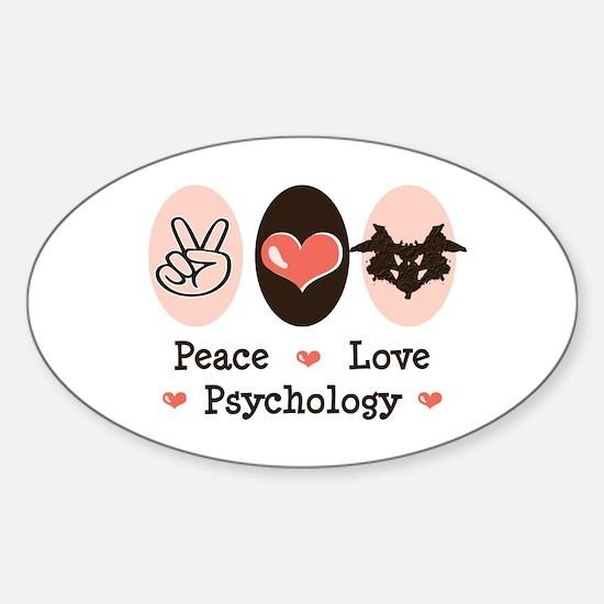 Peace Love Psychology Psychologist Oval Decal