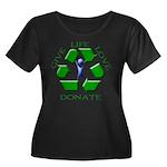 Donate Women's Plus Size Scoop Neck Dark T-Shirt