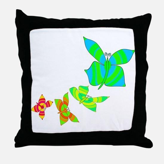 Butterfly Rainbow Throw Pillow