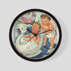 Vintage Swan Bathtub Wall Clock