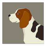 "Beagle Profile Square Car Magnet 3"" x 3"""
