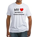My Heart Belongs To A SYSTEMS DEVELOPER Fitted T-S