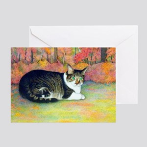 Cat in Autumn Woods-Greeting Card