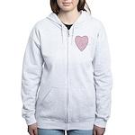 Pink Heart Women's Zip Hoodie