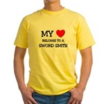 My Heart Belongs To A SWORD SMITH Yellow T-Shirt